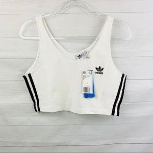 NWT Adidas White/ Black Crop top